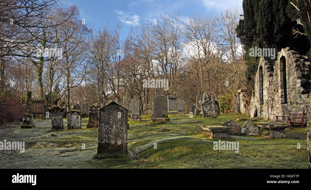 Ruined Graveyard at Balquhidder,Sterling,Scotland, UK - Rob Roy Red MacGregors resting place - Stock Image