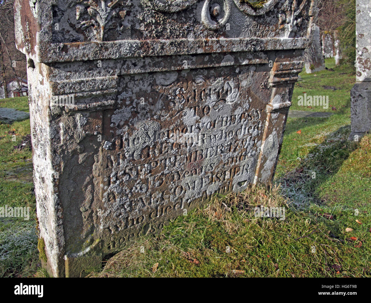 Grave at Balquhidder,Sterling,Scotland, UK - Rob Roy Red MacGregors resting place - Stock Image