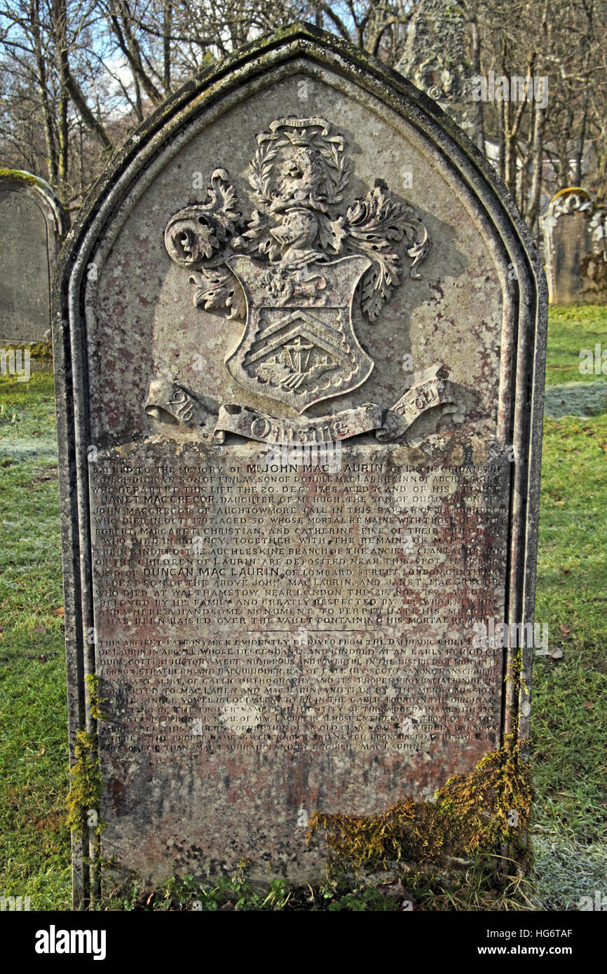 Balquhidder Graveyard,Sterling,Scotland, UK - Rob Roy Red MacGregors resting place - John MacLaurin - Stock Image
