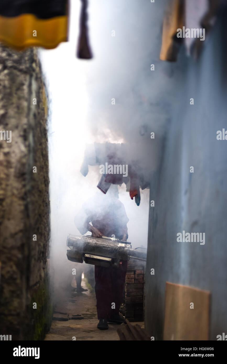 Worker of the Indonesian Health Ministry sprays anti-mosquito fogs in Jakarta, Indonesia. © Reynold Sumayku - Stock Image