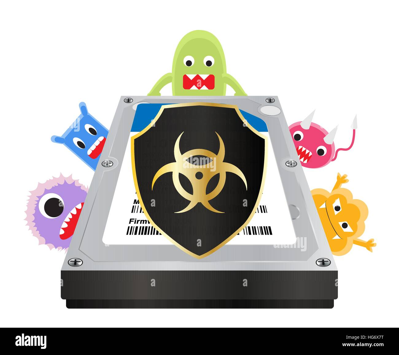 internal harddisk with a virus computer protection shield Stock Vector