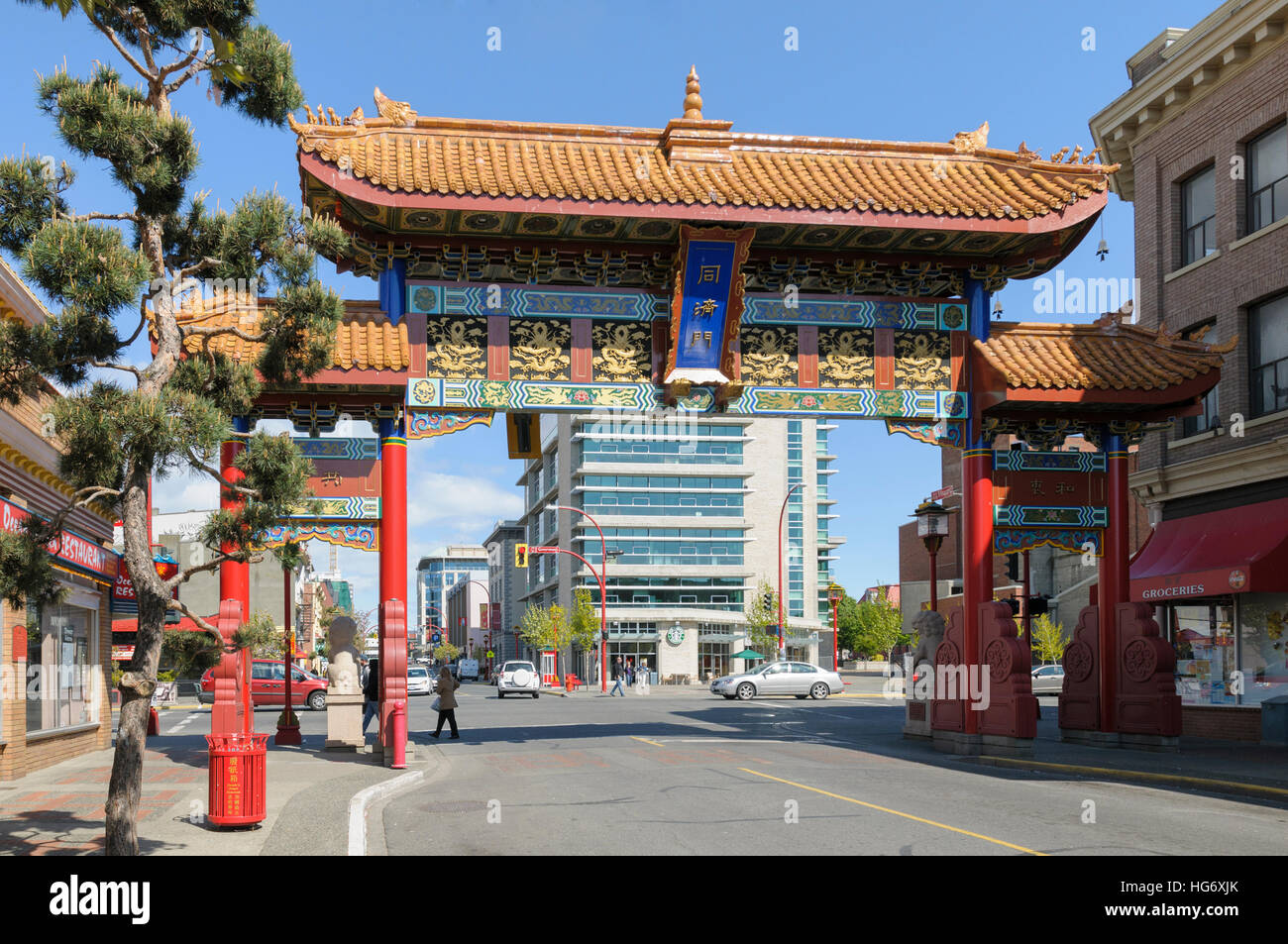 Victoria, Vancouver Island, BC, Canada. Chinatown gate, known as The Gates of Harmonious Interest - Stock Image