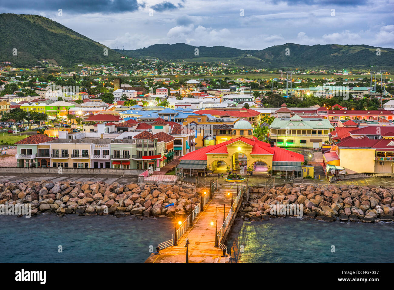 Basseterre St Kitts And Nevis Town Skyline At The Port