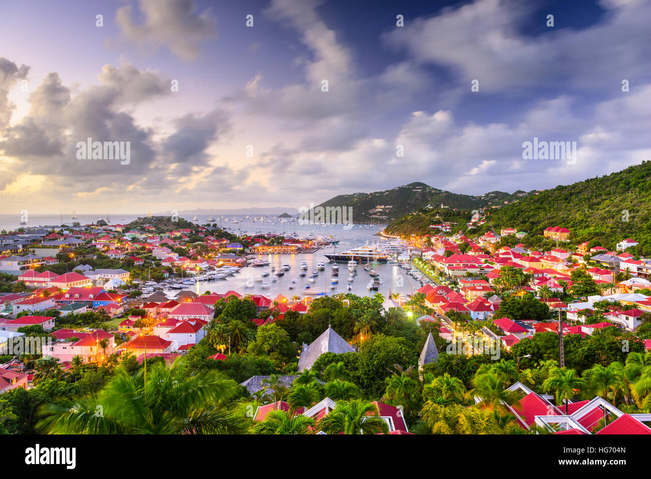 St. Bart's harbor and cityscape. - Stock Image