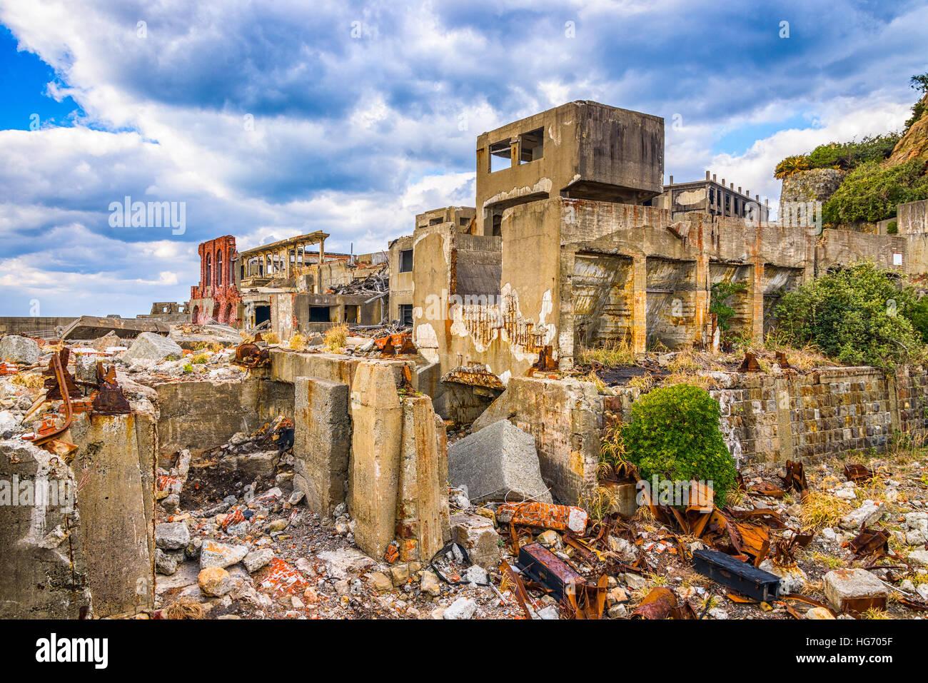 Abandoned island of Gunkanjima, Nagasaki, Japan. - Stock Image