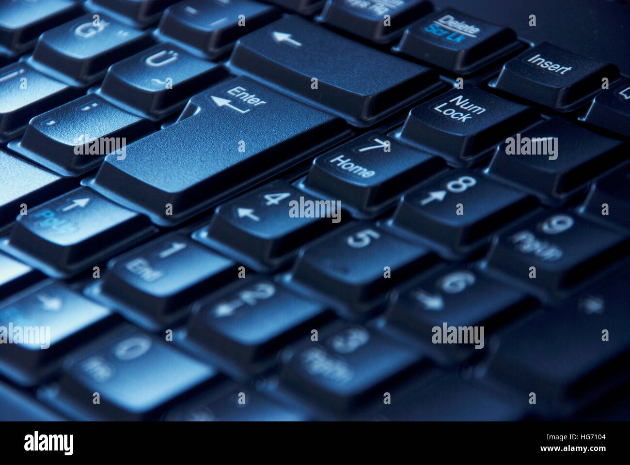 Close-up image of the numeric keypad digits on the computer keyboard - Stock Image