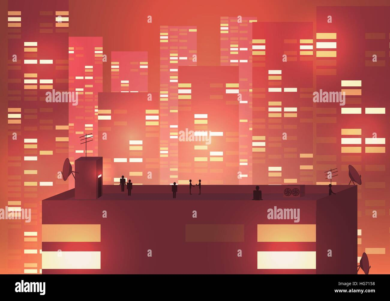 Modern Urban Cityscape scene with Building Silhouettes, Towers and Rooftop Party  - Vector Illustration - Stock Image