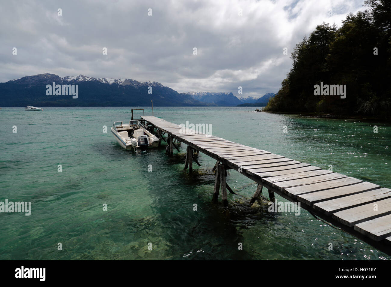 Pier on Lake Nahuel Huapi, Puerto Angostura, Villa La Angostura, Nahuel Huapi National Park, The Lake District, - Stock Image