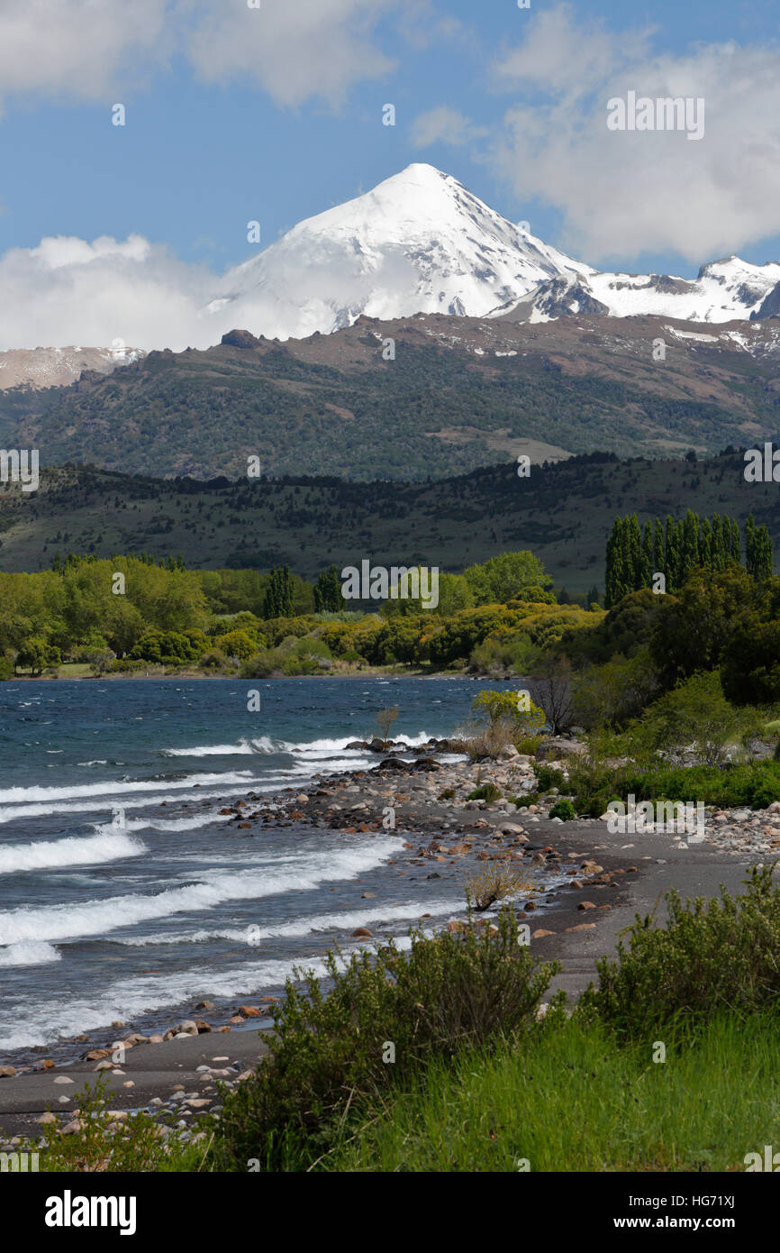 Volcan Lanin stratovolcano and Lago Huechulafquen, Lanin National Park, near Junin de los Andes, The Lake District, - Stock Image