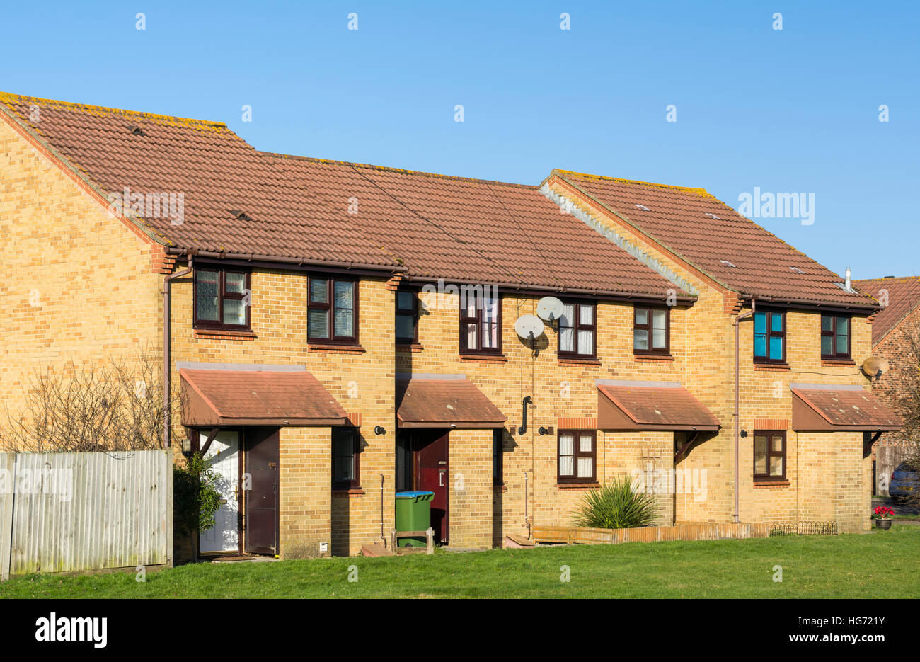 Modern red brick terraced houses in the south of england uk
