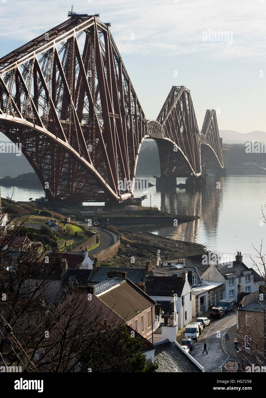 The Forth Rail Bridge viewed from the village of North Queensferry looking south over the Firth of Forth. Stock Photo