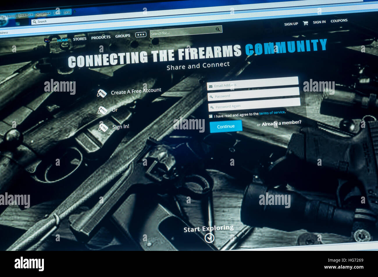 The web page of the United Gun Group. - Stock Image
