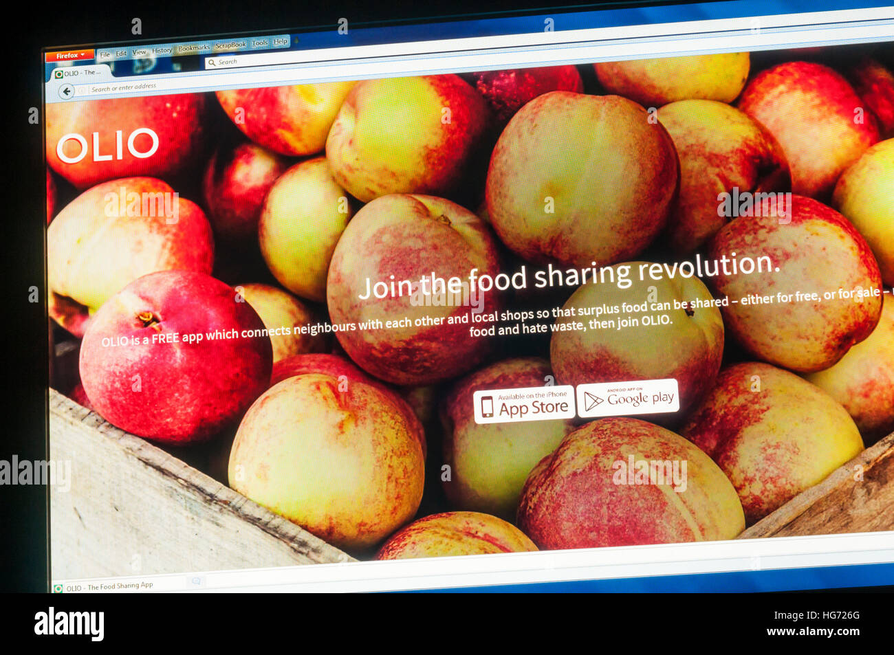 The home page of Olio, the food sharing app web site. - Stock Image