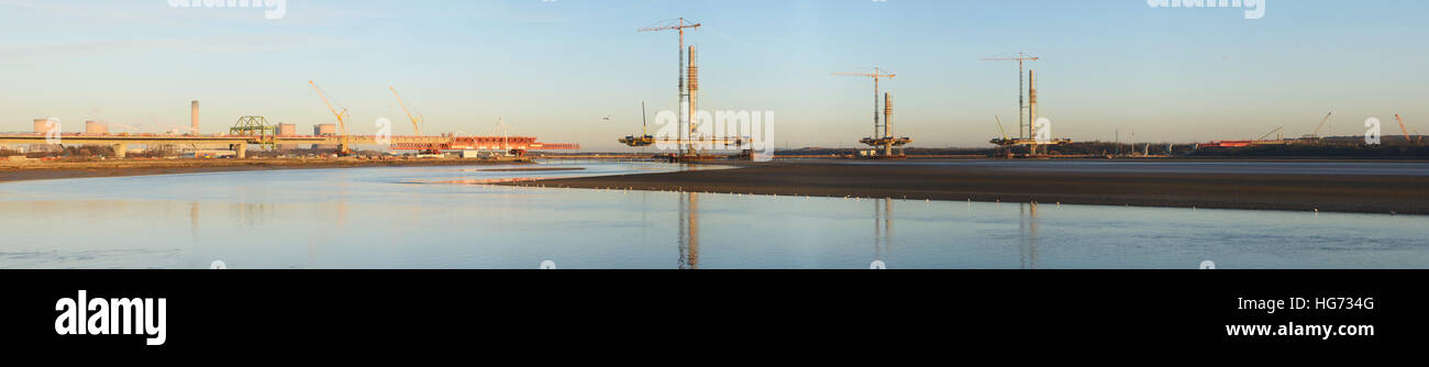 Panorama of the Mersey Gateway Bridge. Constructing a new bridge across the River Mersey upstream from the Silver - Stock Image