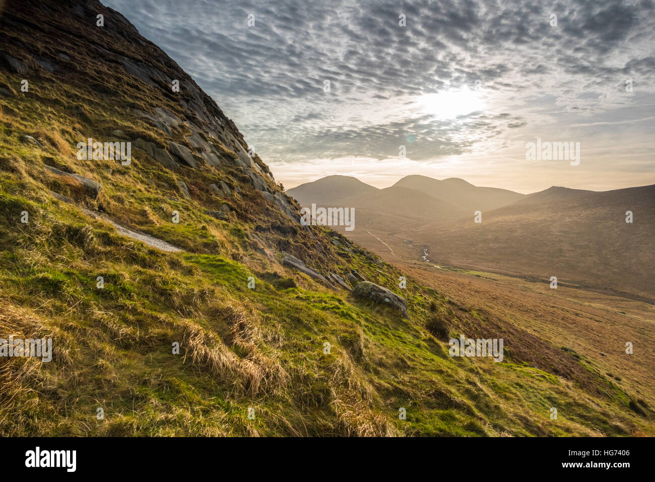 Mourne mountains, Co Down, N Ireland, UK,Weather news.18th December 2016. A beautiful winters day in Northern Ireland.copyright - Stock Image