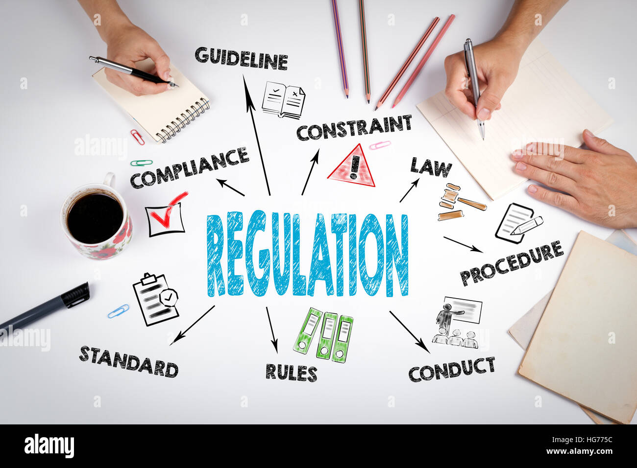 Regulation. The meeting at the white office table - Stock Image