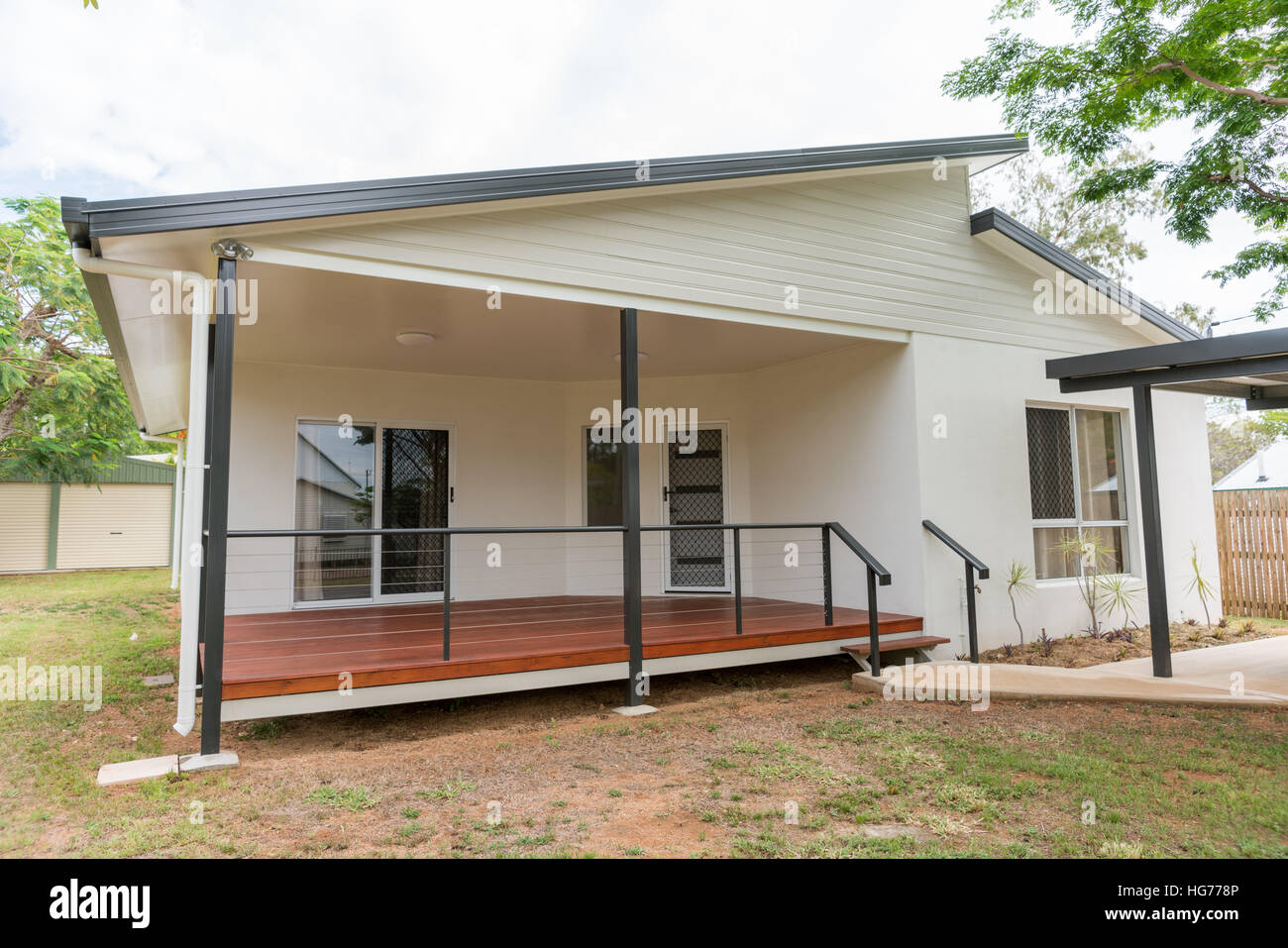 New Contemporary Style Home With Timber Deck In Front Stock