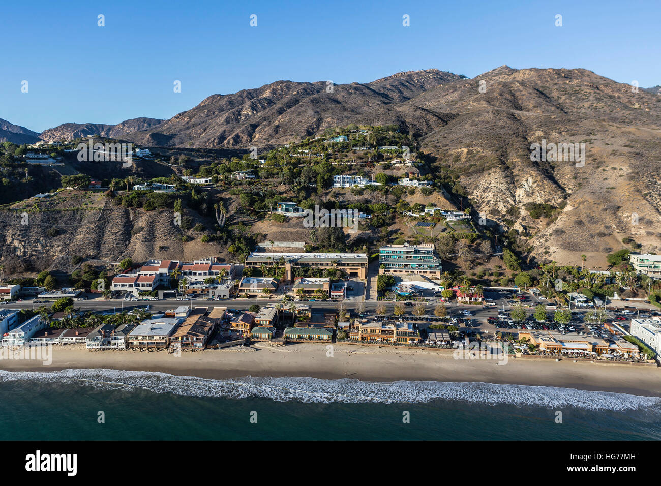 Aerial of built up Malibu beachfront near Los Angeles in Southern California. Stock Photo