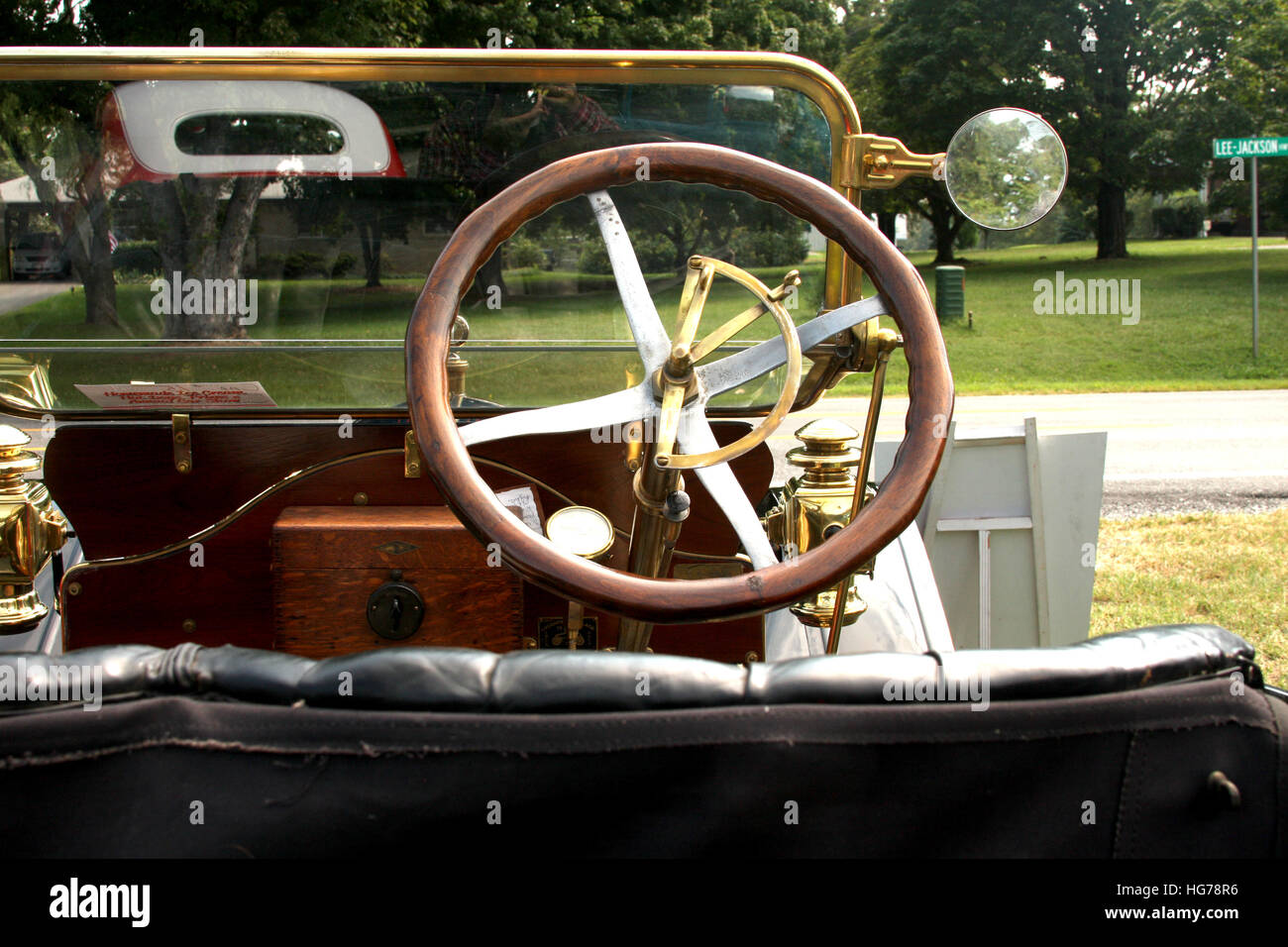 Steering wheel and dashboard in historic vintage car. Retro Stock ...