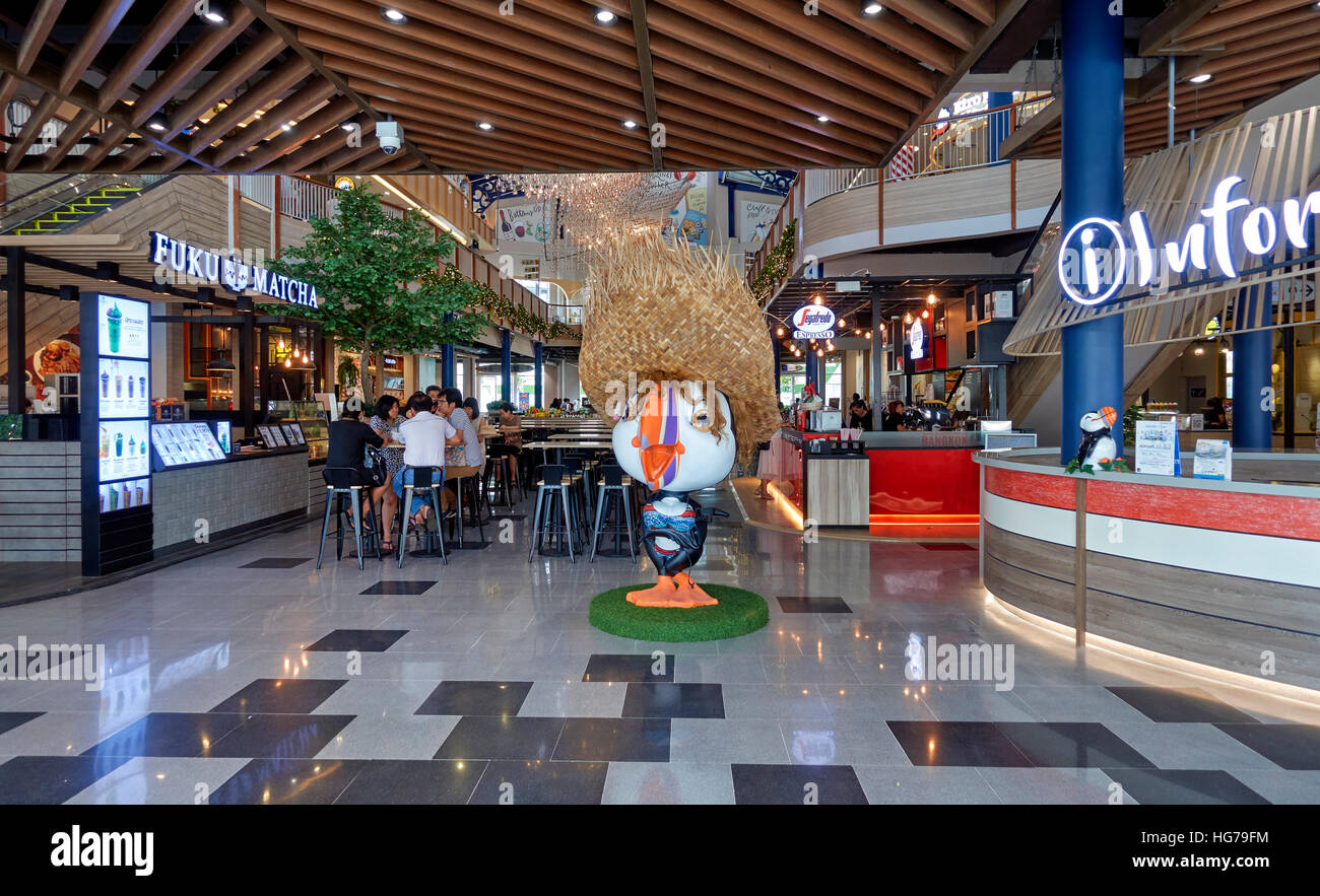 Interior view of a newly constructed Thai shopping mall with ground floor food hall. Central Marina, Pattaya, Thailand - Stock Image