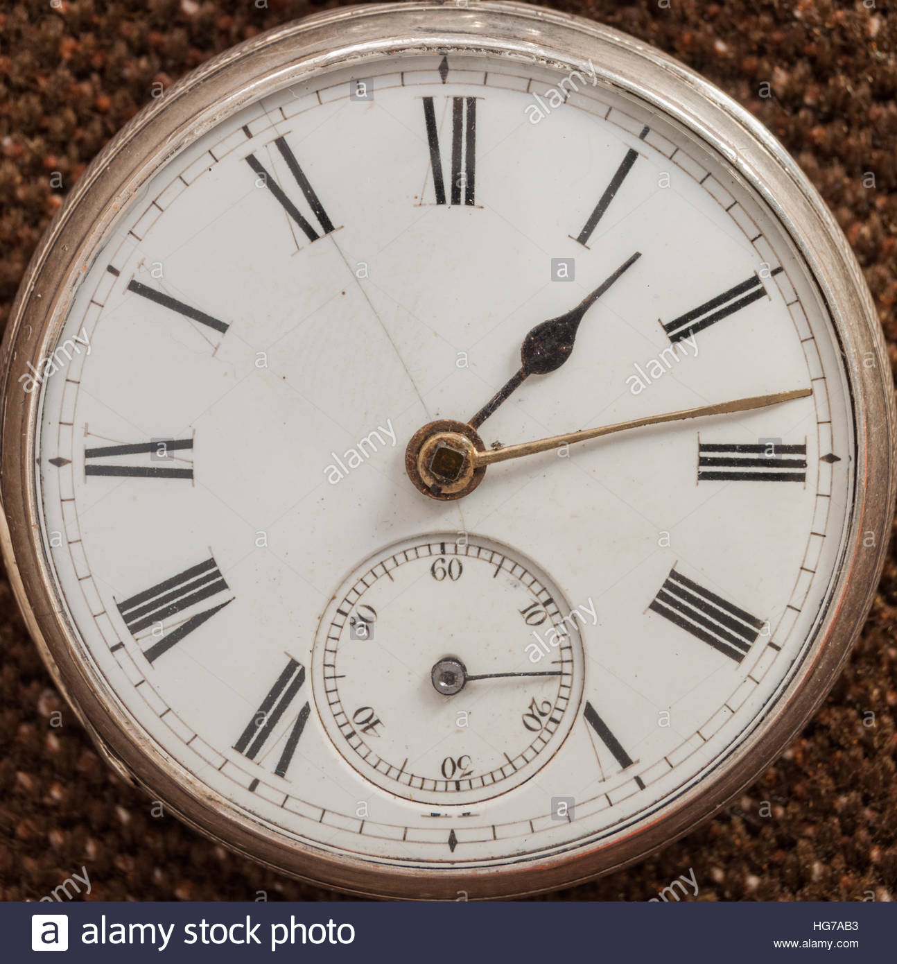 Antique sterling silver pocket watch - Stock Image