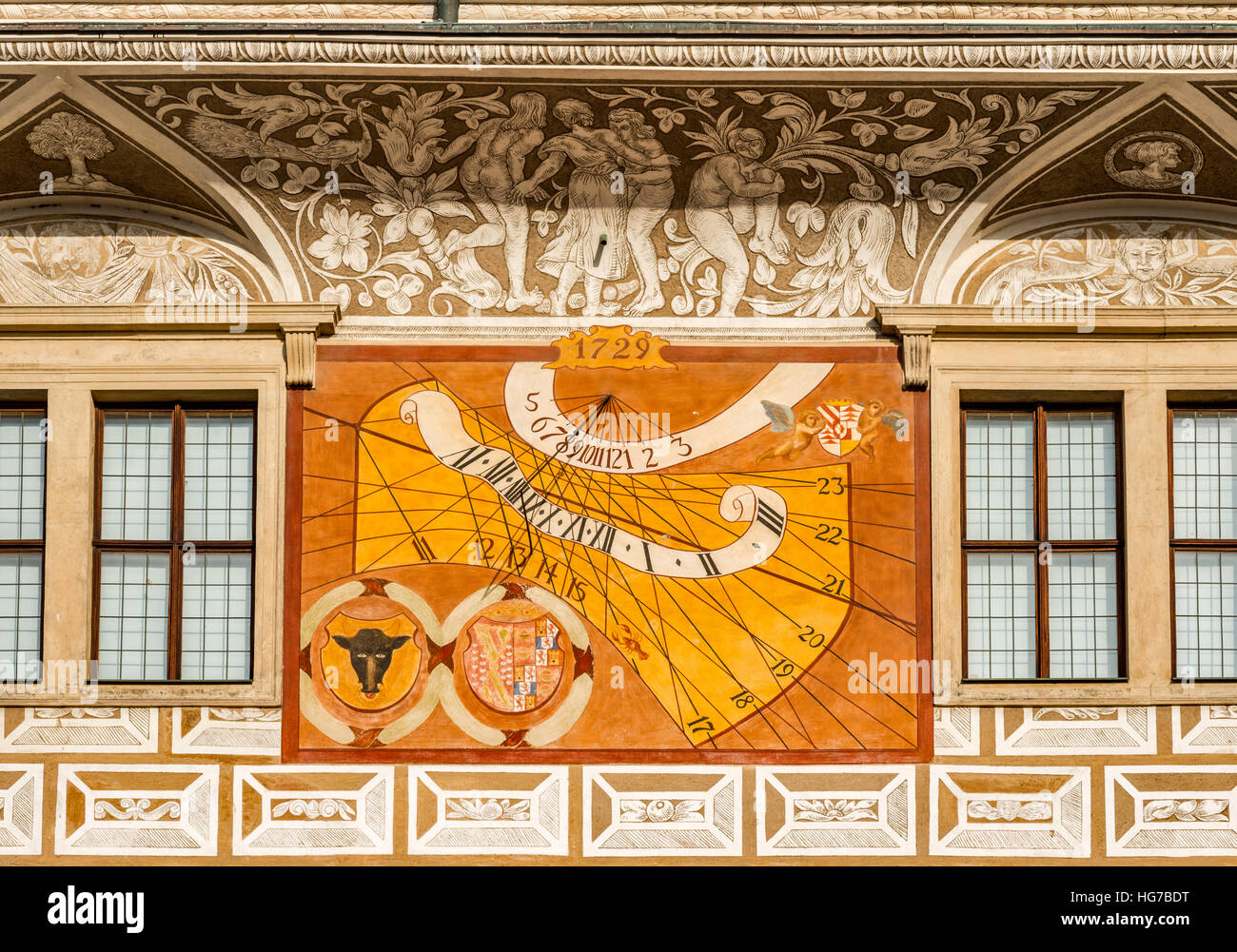 Sundial, sgraffito art work at Litomysl Castle, 16th century, Renaissance style, UNESCO World Heritage Site, in - Stock Image
