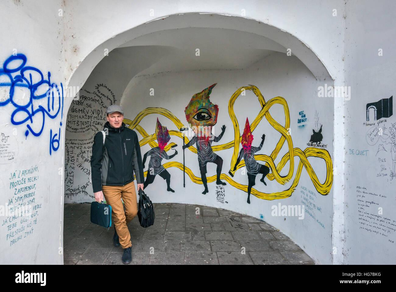 Street graffiti at passage at ulice Denisova in Olomouc, Moravia, Czech Republic - Stock Image