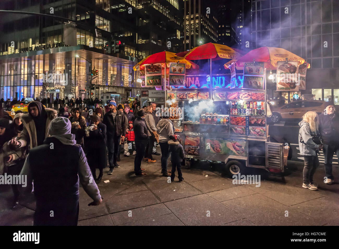 Fast food on 6th Ave near Bank of America Towers New York. - Stock Image