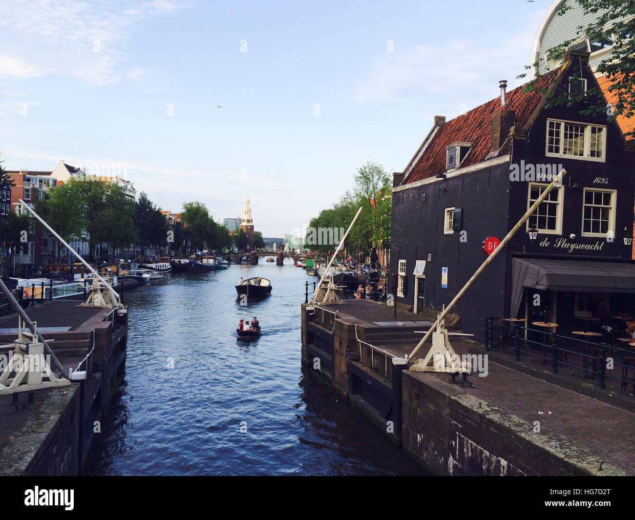 Traditional Canal Lock in Amsterdam - Stock Image