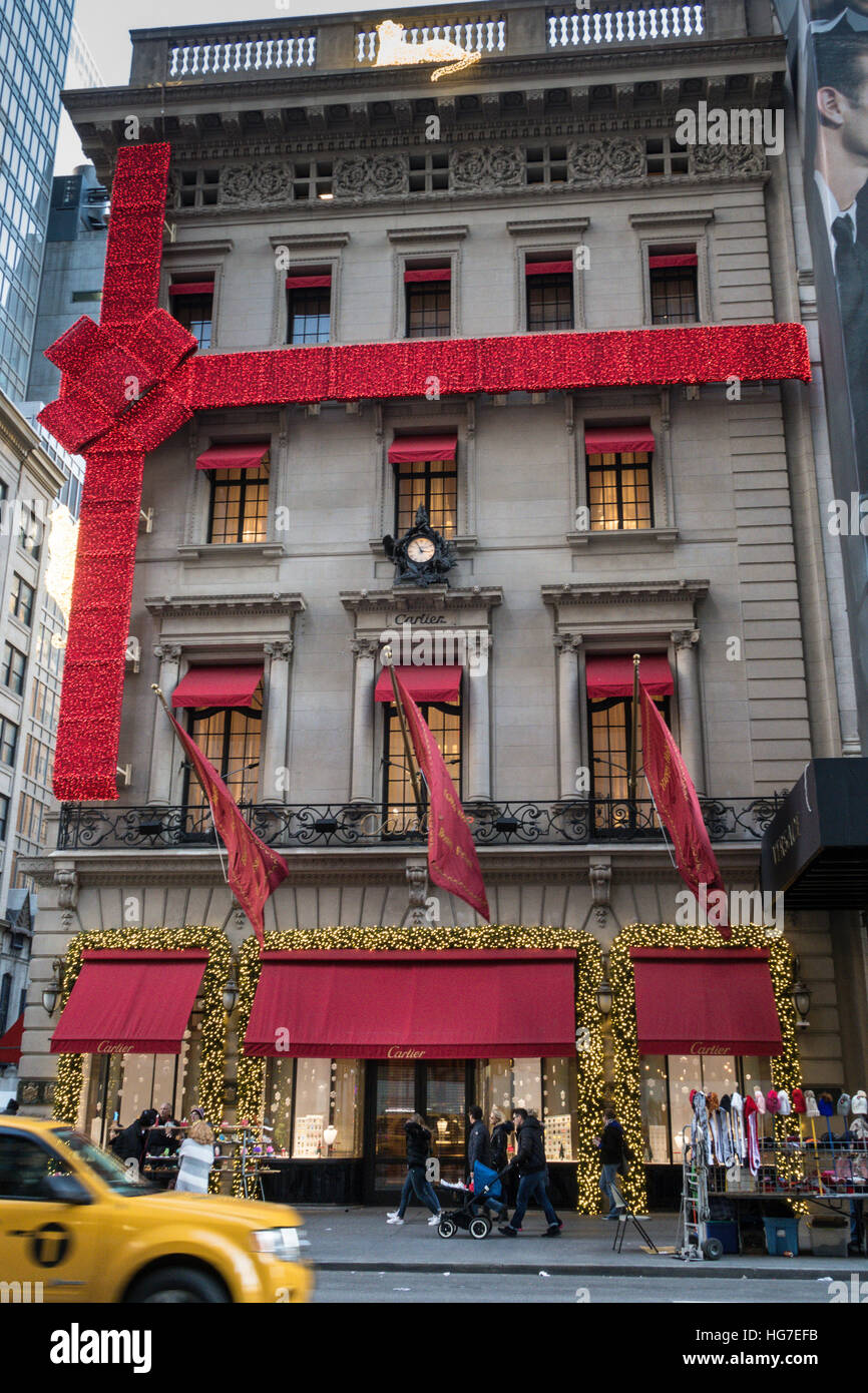 The Cartier Mansion at Christmas Time, NYC, USA Stock Photo ...