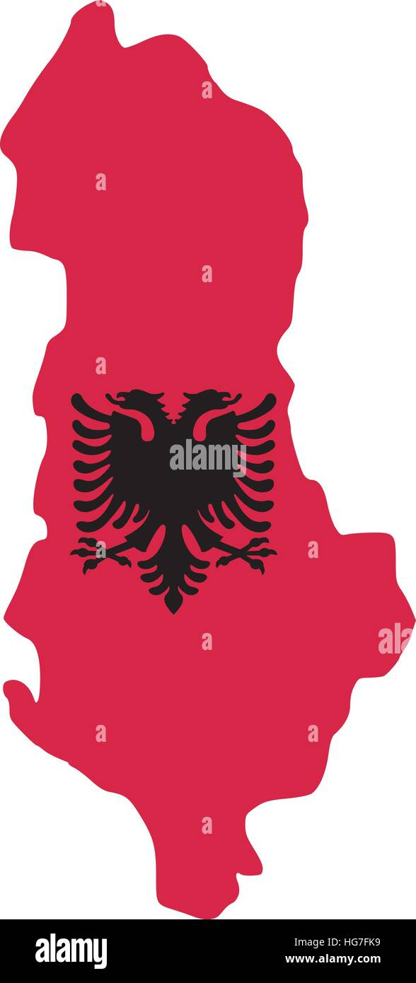 Albania map with flag - Stock Vector