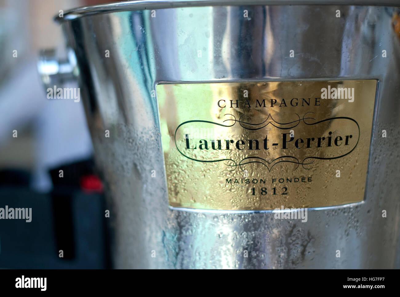 Laurent Perrier champagne ice bucket - Stock Image