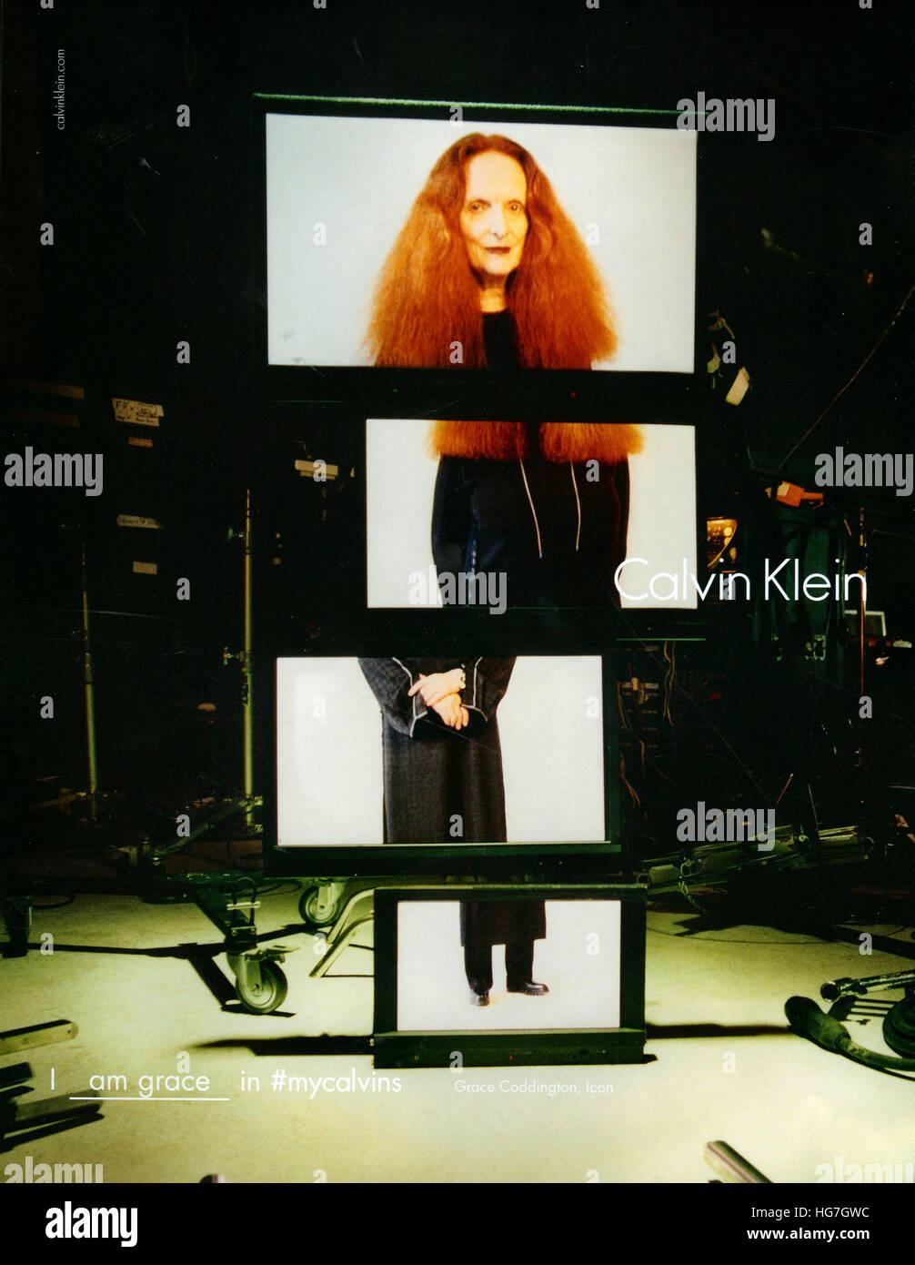 2010s UK Calvin Klein Magazine Advert - Stock Image