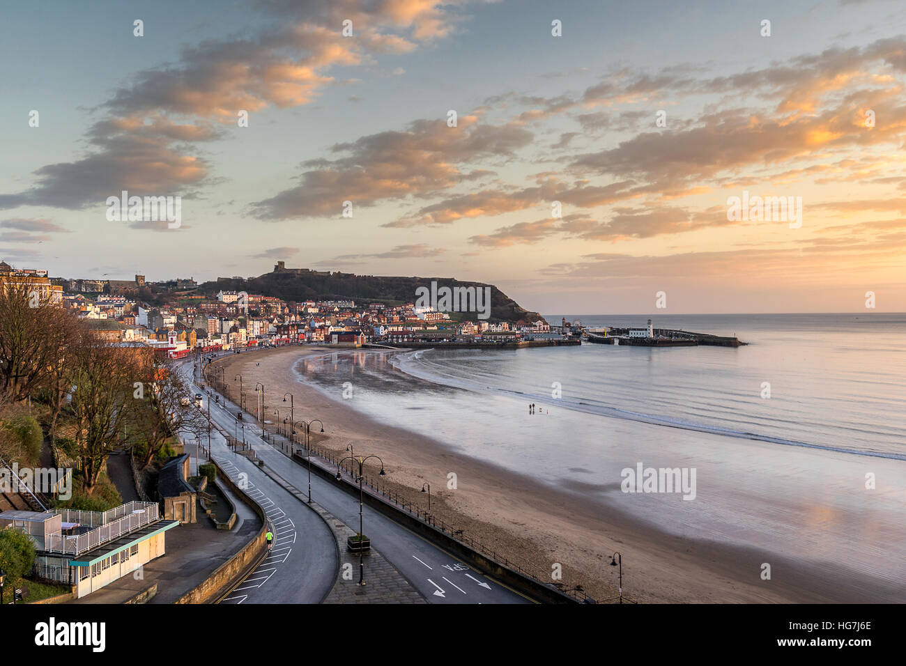 Scarborough beach in Yorkshire - Stock Image
