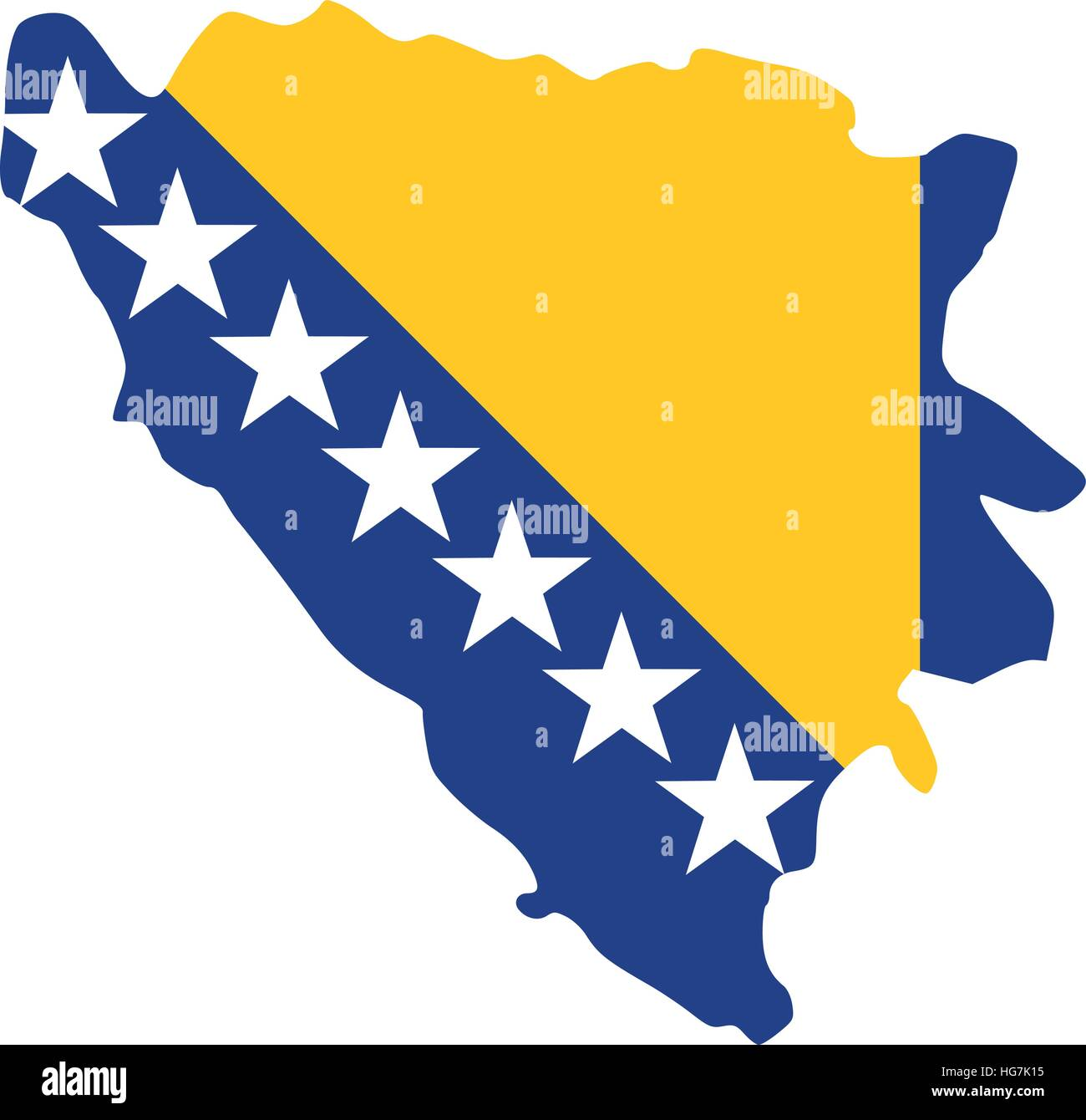 Bosnia and Herzgeovina map with flag - Stock Vector