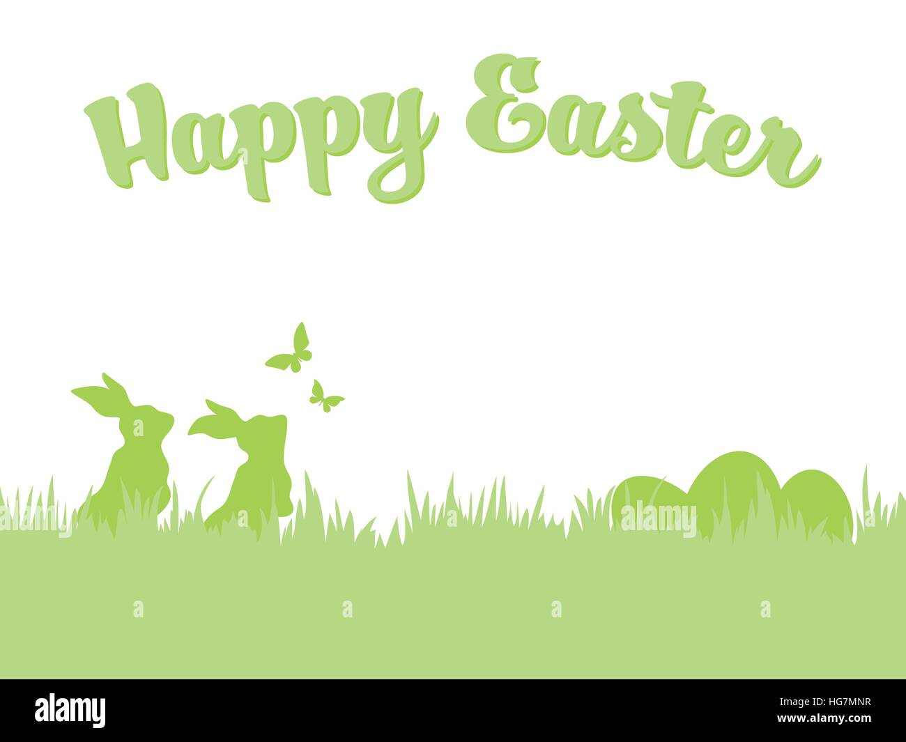 happy easter greeting card template silhouettes of easter bunnies