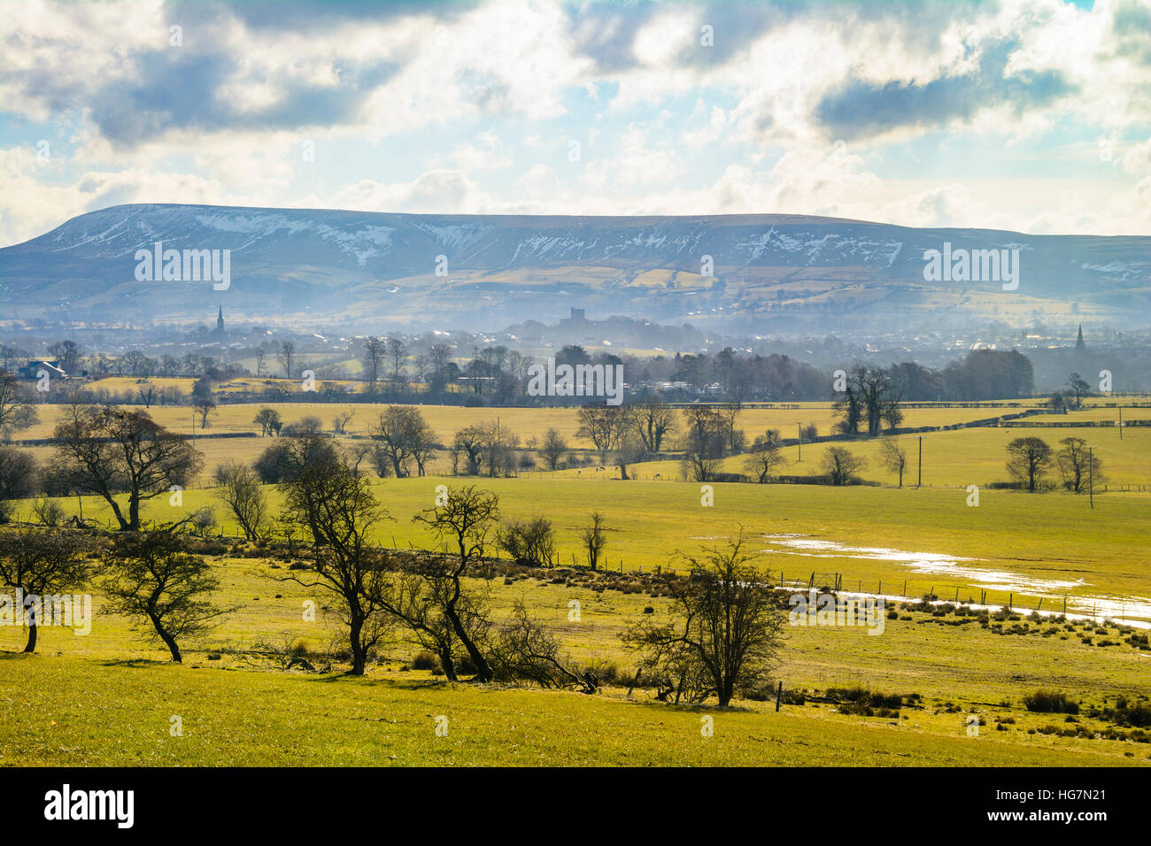 Clitheroe and Pendle Hill from Backridge Ribble Valley Lancashire - Stock Image