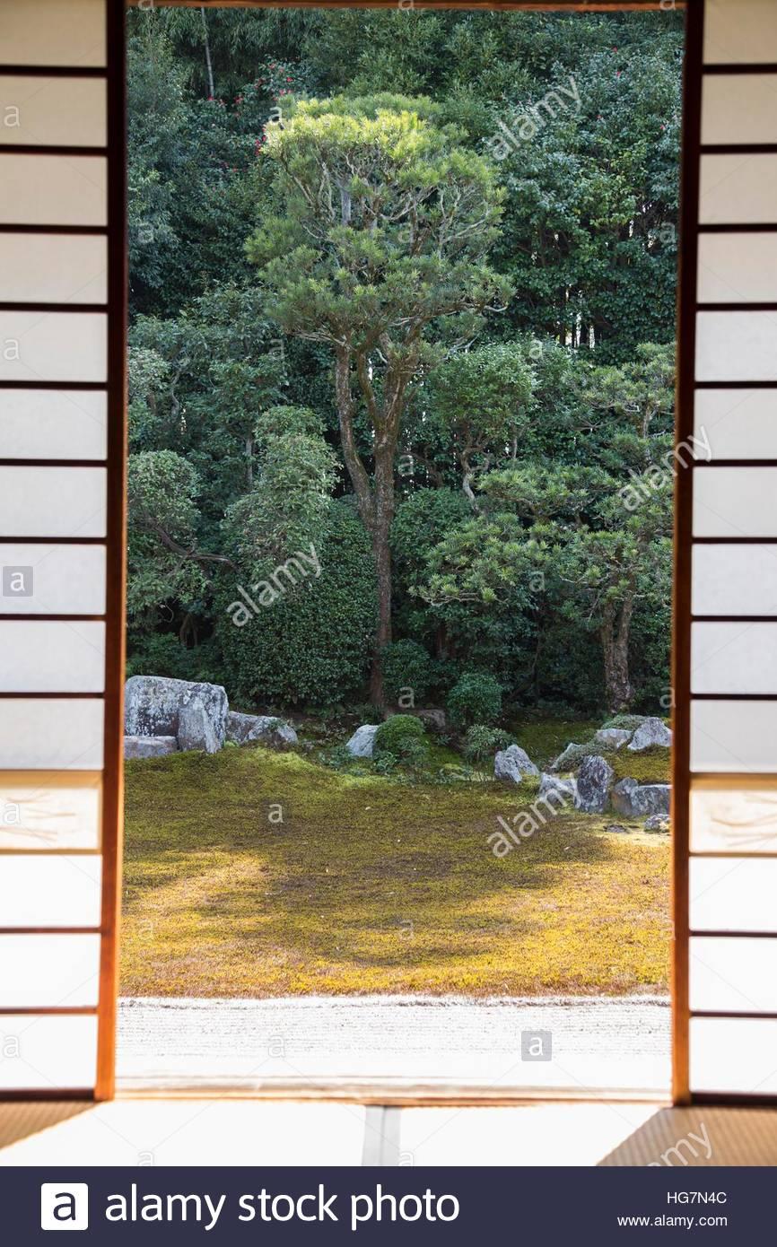 A Japanese garden as seen through an exterior shoji sliding