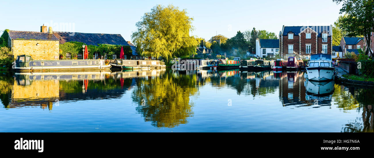 Stitched panorama of Tithebarn Basin on the Lancaster Canal at Garstang Lancashire England - Stock Image