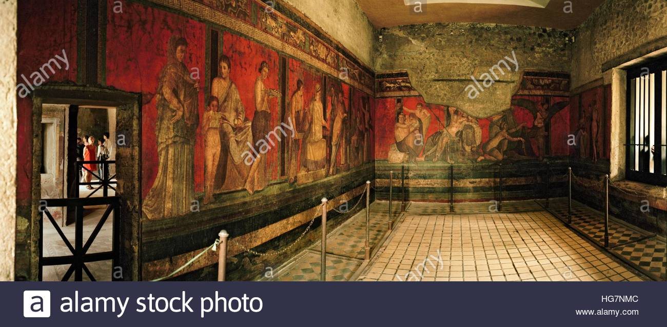 Murals at Villa of the Mysteries or Villa dei Misteri, preserved after being buried in ash after the eruption of - Stock Image