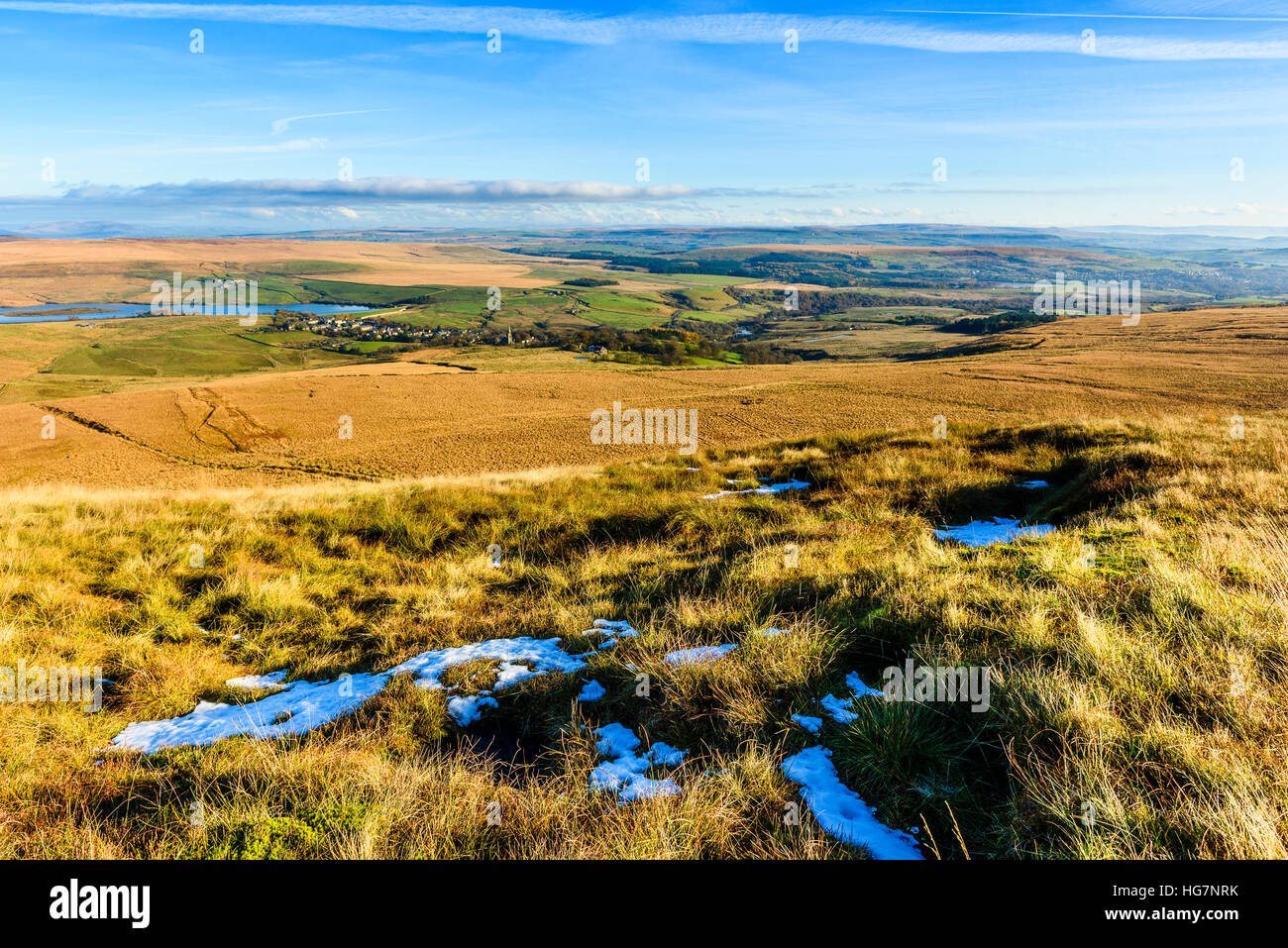 View from Winter Hill Lancashire over the village of Belmont and the West Pennine moors - Stock Image