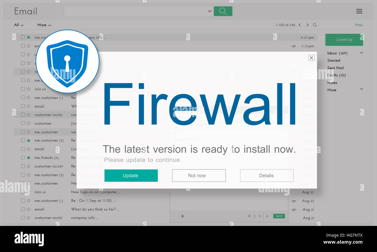 Firewall Antivirus Alert Protection Security Caution Concept - Stock Image