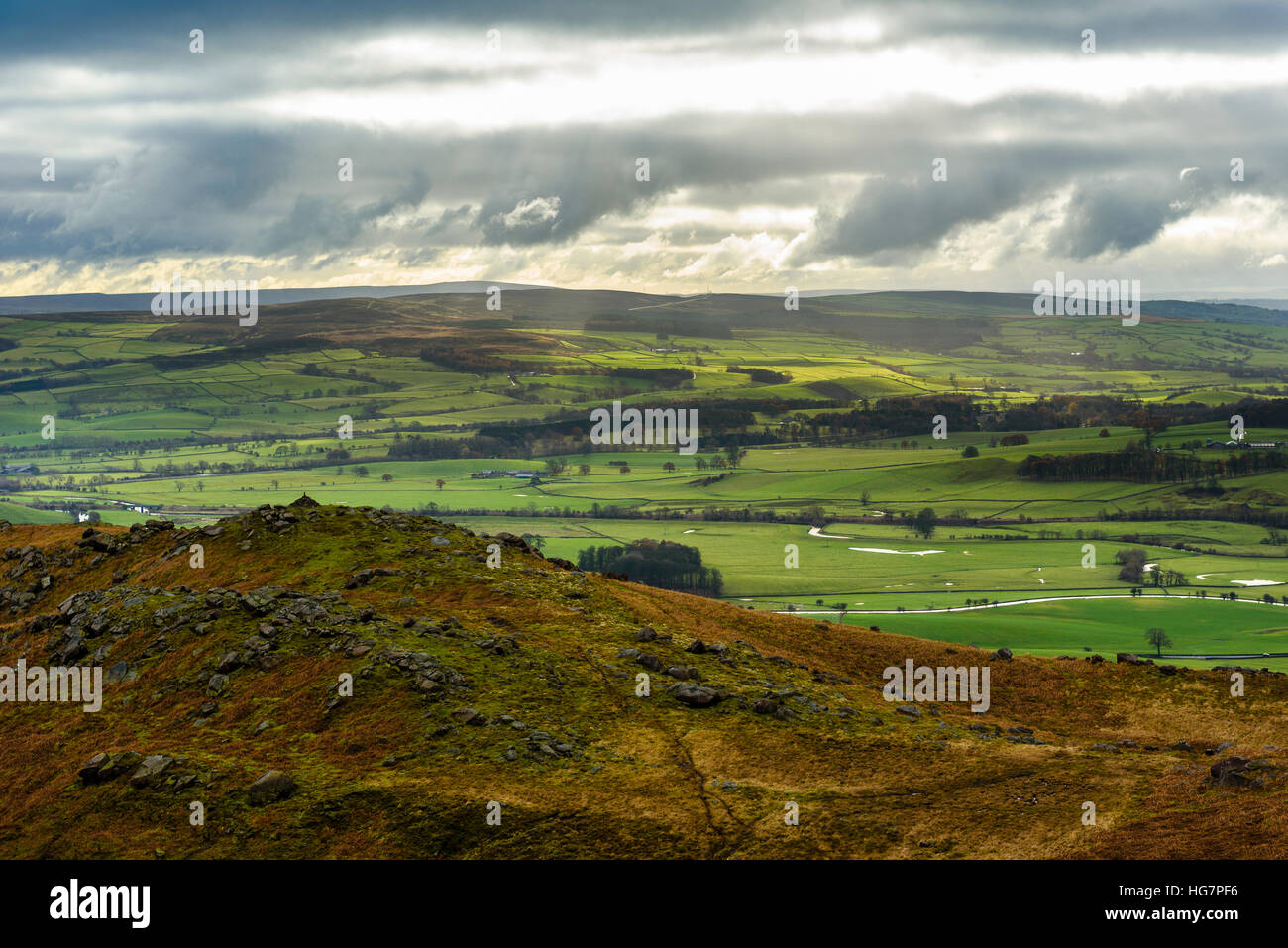 View from Flasby Fell in the Yorkshire Dales National Park near Skipton towards Elslack Moor - Stock Image