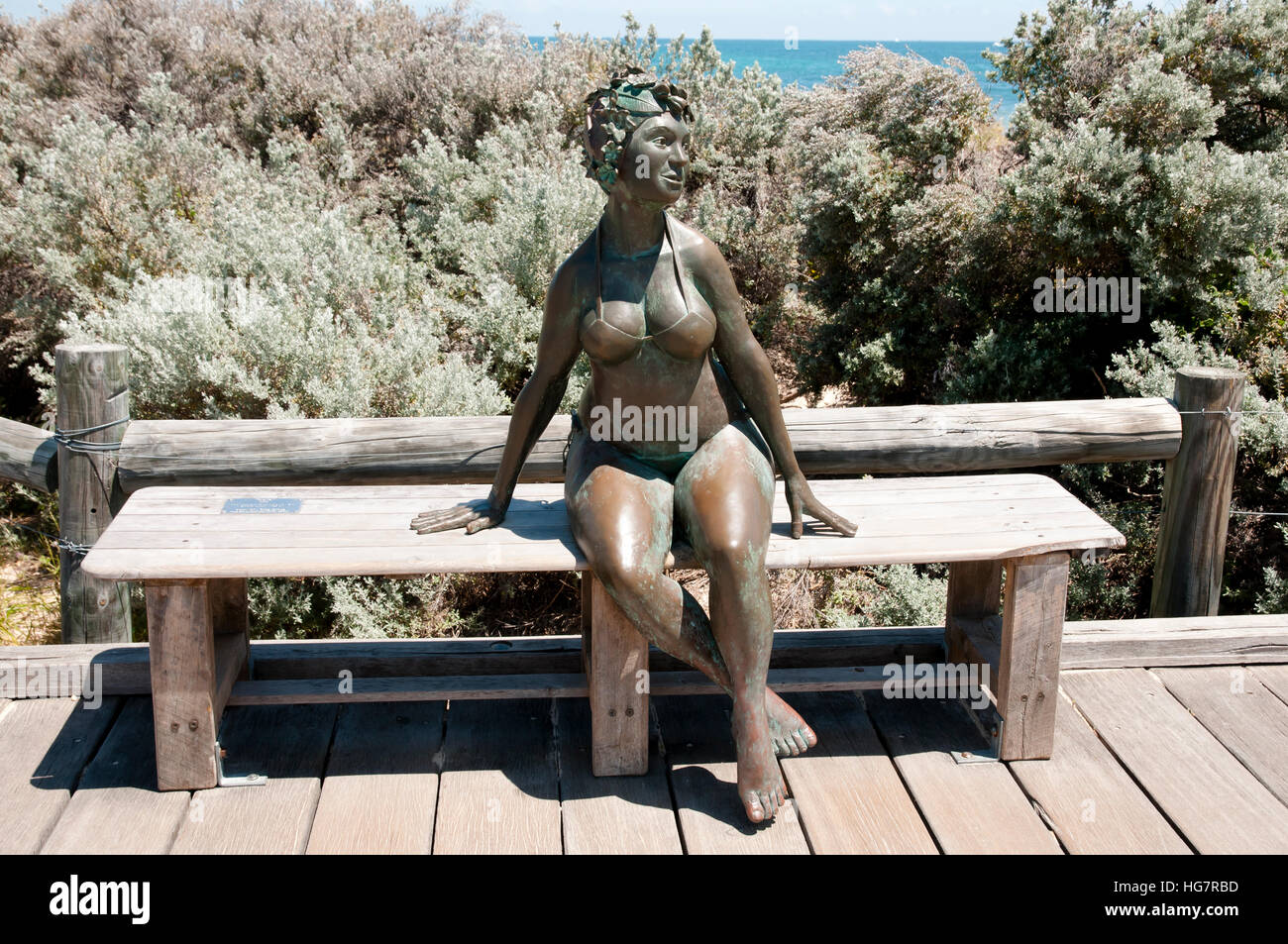 Mermaid Woman Statue - Fremantle - Australia - Stock Image