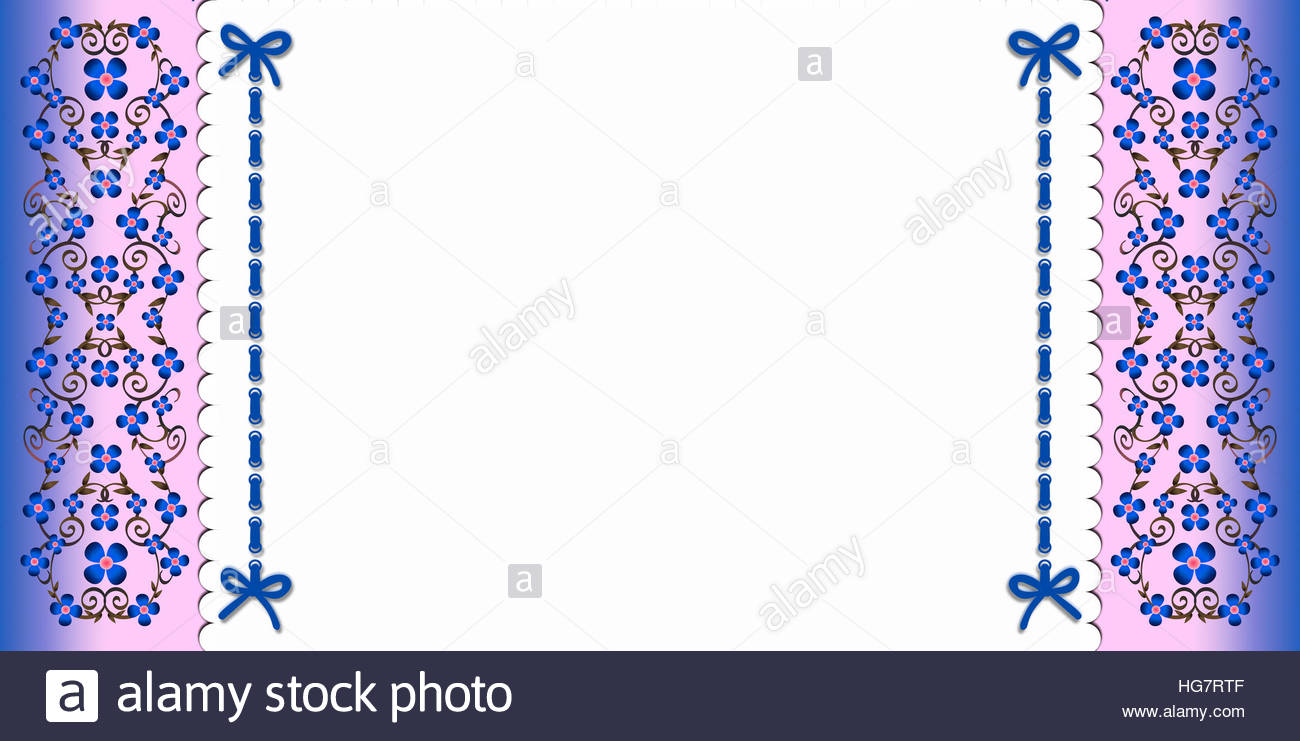 Floral elegant vector background blue and pink flowered border floral elegant vector background blue and pink flowered border both sides with attached white paper in blue cord and ribbons mightylinksfo