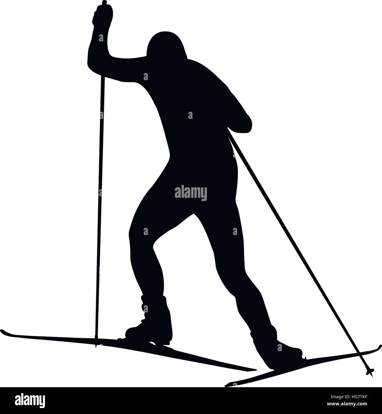 man athlete skier freestyle black silhouette - Stock Vector