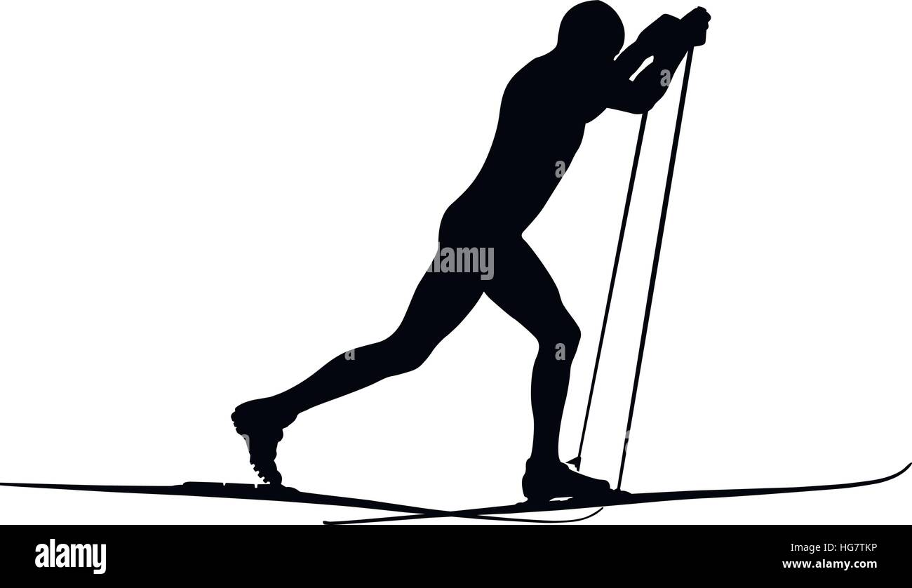 male athlete skier classic style black silhouette - Stock Vector