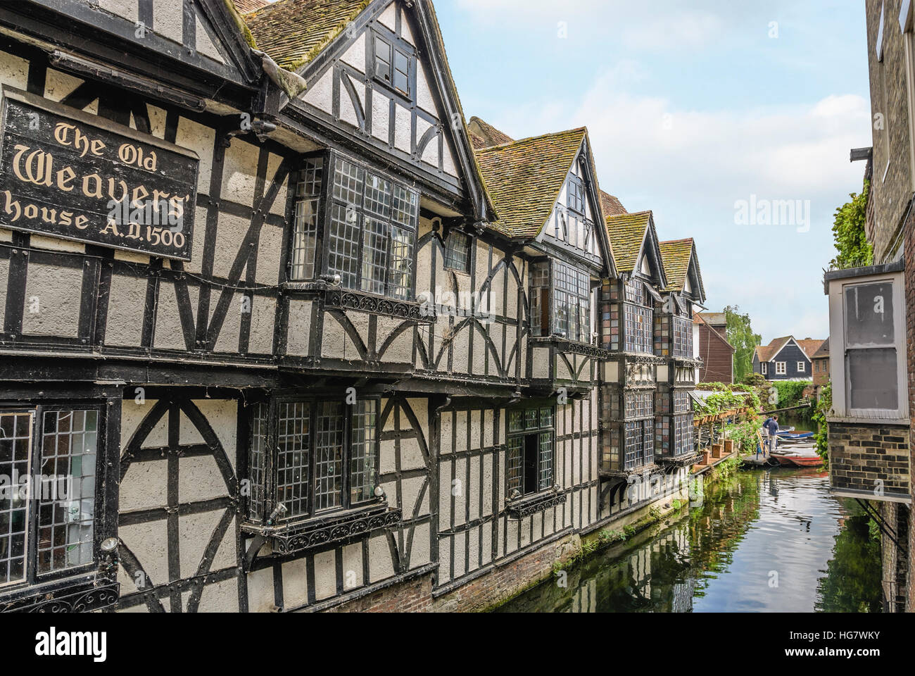 Historical Old Weavers House in the old town center of Canterbury, in the County of Kent, South East England. - Stock Image