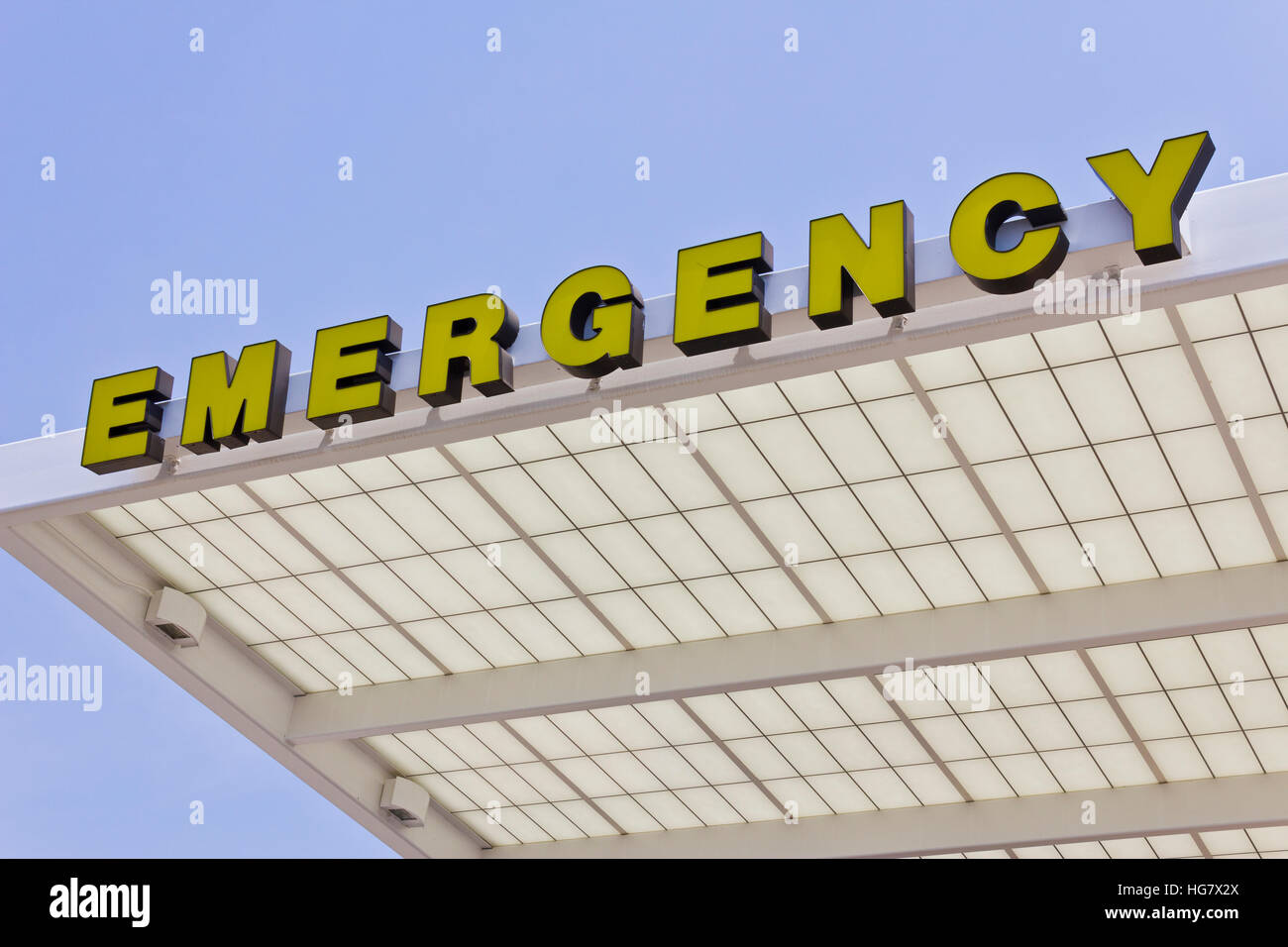 Yellow Emergency Entrance Sign for a Local Hospital VI - Stock Image