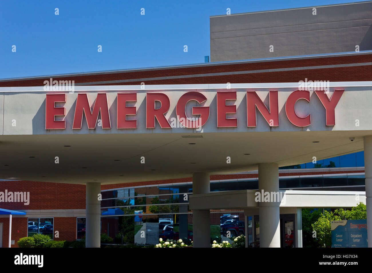 Red Emergency Entrance Sign for a Local Hospital VII - Stock Image